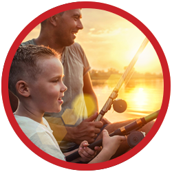 Adult and child fishing